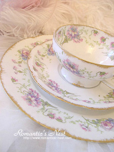 Haviland limoges - violet wild flower  컵&소서 3p set