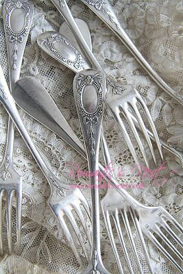 Sterling silver dinner fork set ... 프렌치 리본...